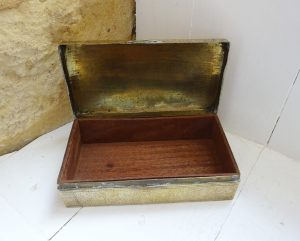 Antique Indian brass box, finely etched brass jewellery box, wood lined cigarette box, made in India, Raj style, Granny Chic, desk decor