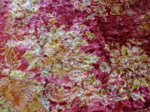 Victorian fabric in thick pink and gold velvet for restoration, 120cm tablecloth, square piano shawl or scarf, throw bed cover, wall hanging