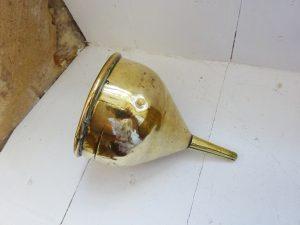 Antique brass wine funnel, Georgian funnel, spirit decanting funnel. Kitchenalia, vintage kitchen utensil, kitchen decor, original patina