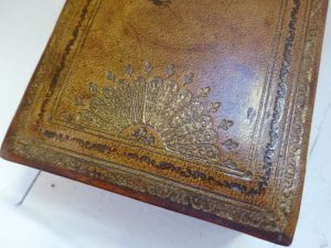 Vintage Italian leather jewellery box with red felt lining by Rispigni, antique tooled and gilded box, wood interior