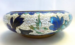 Antique Japanese cloisonne bowl, white with birds & flowers in shades of blues and turquoise, vintage Oriental cloisonne dish, bonbon dish
