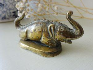 Antique Indian / Thai brass mythical beast, elephant headed lion, Himapant, Kochasri, Singha