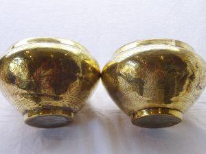Antique brass jardinieres, pair of engraved brass planters, middle eastern plant pots, Arabic script, rich patina, gardenalia, Cairoware