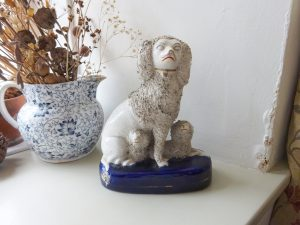 """Victorian Staffordshire poodle and two puppies 19th century white pottery Wally dog, fireplace dog, genuine antique white poodle ornament 8"""""""