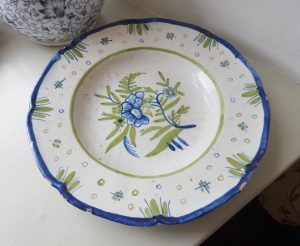 Antique French faience plate, tin glazed blue and green floral plate, hand painted Delft, possibly 18th century pottery plate