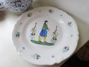 Antique French faience plate, tin glazed polychrome Quimper plate, signed HR - J. Henriot, hand painted plate with figure, made in France