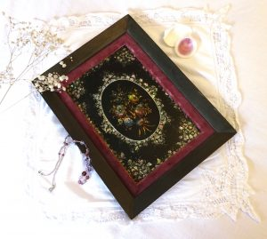 Victorian abalone and mother of pearl shell mosaic set in lacquered black papier-mâché blotter cover ~ in a pink velvet border & black frame