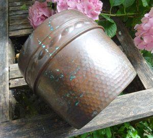 Antique copper jardiniere, Arts and Crafts copper planter, plant pot, gardenalia, English hammered copper plant pot, original old patina