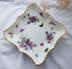 Vintage bone china trinket dish in Victorian Violets pattern by Hammersley, Spode Group