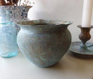 Antique Indian brass jardiniere, small engraved Indian verdigris brass planter, floral pattern, Asian brass plant pot, gardenalia, patina