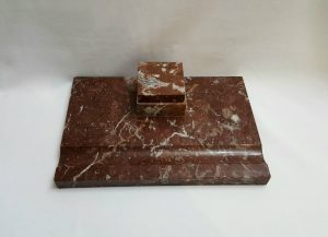 Art Deco inkstand - a large Continental marble inkstand, inkwell insert and desk accessory, made of Greek 'Eretria Red' marble circa 1930