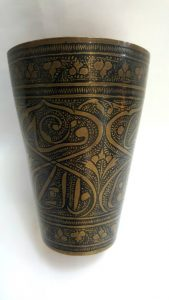 Middle Eastern beaker, an intricately decorated Middle Eastern brass & enamel beaker / vessel, of Islamic possibly Pakistani origin