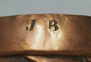 Antique copper jelly mould - a large 19th Century Victorian copper jello ring mold with 24 slanting fingers, engraved with initials: J.B