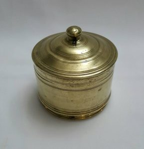 Vintage Indian brass pot - a Middle Eastern lidded brass canister / pot, possibly a betel nut box of heavy construction