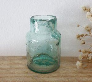 Antique rare rat paste bottle, Victorian rat poison bottle with shear top, small aqua burst top poison bottle, 5cm, embossed rat on base