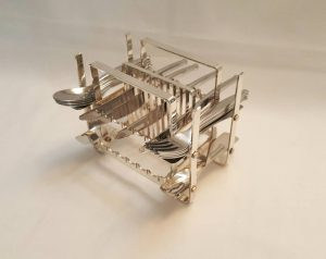 mid century silver plated on brass freestanding twenty four place setting table cutlery rack or stand.